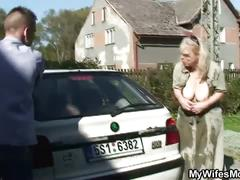 Granny washes car for some cock cum