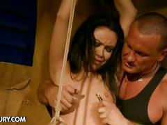 Horny brunette slave nilla endures pain for hot master