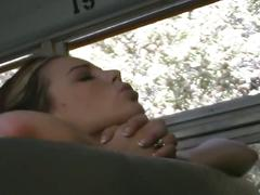 Horny teen couple fucks on the school bus