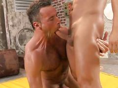 Hairy hunk greg wilson gets face fucked by muscular nico blade