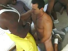 gangbang, interracial, 4 on 1, assfucking, big black cock, black on white, deepthroat, face fucking, first time, gagging, homemade, muscle man, sloppy blowjob, stud