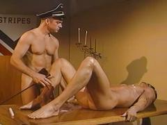 Hot stud blindfolded and fucked by cop