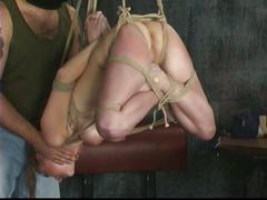Blonde is restrained by master len in basement and prepared for torture