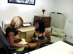 Two horny ebony cum sucker suck a white dick in the office