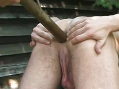 Hunk fucked with stick and pissed on then bareback fucking