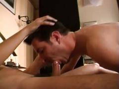Stud sucks big cock and gets ass fucked roughly