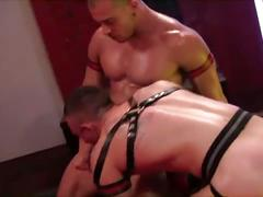 Leather wearing cock sucking and bareback ass fucking
