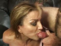 Busty brunette milf gets pussy drilled by young cock