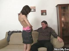 old & young, brown hair, eating pussy, ffm, old man young woman, pov blowjob