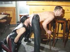 Daddies in leather getting hot and wild in fiery threesome fucking
