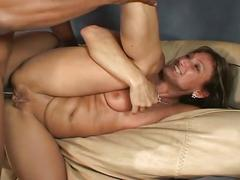 brunette, hardcore, interracial, milf, pussy, black on white, brown hair, cowgirl, missionary, mom, piledriver, shaved pussy