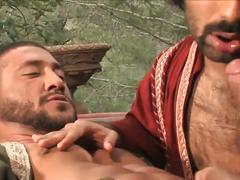 Sexy arabian hunks double blowjob and threesome