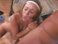 Blonde cutie milks lover's cock