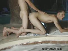 Four twinks suck and fuck big cocks bareback in pool