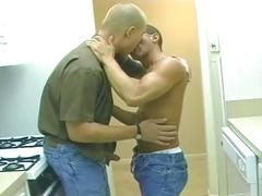 Spunk eating muscled hunks strip for some anal stuffing in kitchen