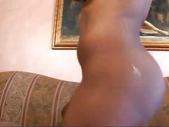 Gorgeous chocolate gets big cock ride