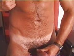 Spunk giving lewd muscled daddy strips and jerks big cock in solo