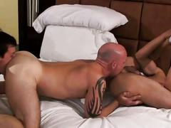 Lavish ass and cock eating threesome with lustful muscled studs