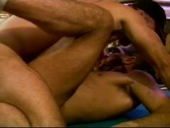 Luscious threeway whacking as muscled daddies fuck each other