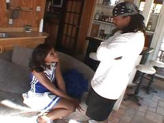 Gorgeous ebony cheerleader gives all her spunk