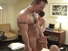 Hot leather cock sucking and ass fucking threesome