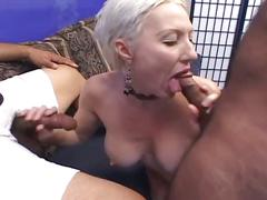 Slutty blonde milf get double cock action