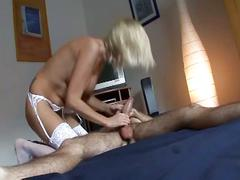 The hot blonde with white stockings babe get hard fucked by a cock