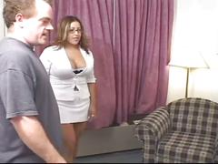 Monster tits cum starved brunette mom down for two huge cocks