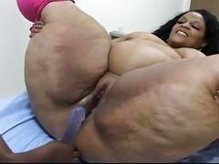 Big beautiful black lesbian bitches give toy show