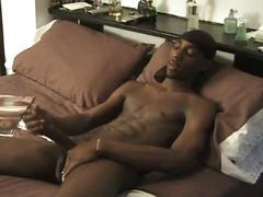 Sexy black stud jerks huge cock