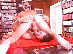 Awesome threesome manhood satisfying encounter in the library