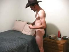 Sexy amateur cowboy toys ass and strokes cock