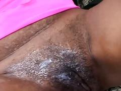Busty ebony shaves her pussy and fucks hardcore