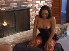 The ebony babe get fucked in nail and love to swap the cum