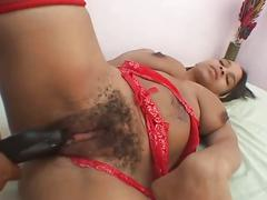 Two amateur ebony lesbians eat pussy and use toys