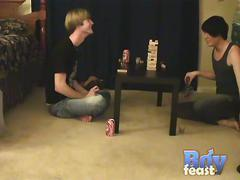 Naughty twinks austin, trace and william strip and hot game