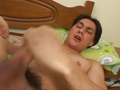 Hot muscular latino dude gets blowjob before fingering and fucking ass
