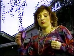 Brunette in dress gives a sloppy deep blowjob