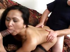 threesome, 3some, anal sex, assfucking, beauty, beef curtains, big cock, chick, cowgirl, cutie, doggy style, fishnets, girl next door, missionary, mmf, newbie, oriental, shaved pussy, tight pussy
