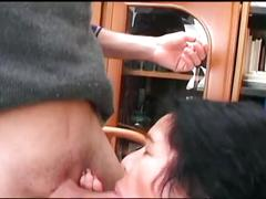 brunette, fat, hardcore, old & young, pussy, black hair, chubby, old woman young man, piledriver, spoon, trimmed pussy