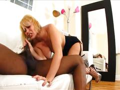 Hot blonde milf loves big black cock fucking