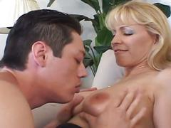 Blonde milf loves sucking and fucking action