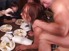 Redhead coed gets gangbang fucked by many cocks