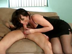 Sexy brunette milf in black stockings loves pussy drilling action