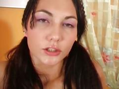 Watch lusty brunette bitch giving striptease only for your eyes !