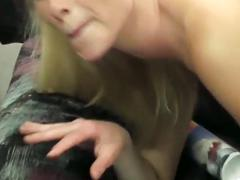 Incredibly hot and lusty blonde bitch blows hard pecker