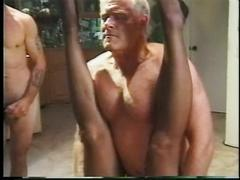A thick, busty golden age blonde gets stuffed by two dudes