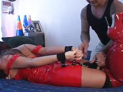 Fiery big tits slut in red latex double penetration fun