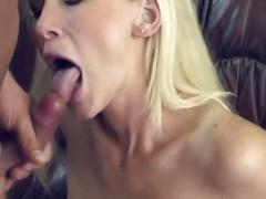 Horny platinum blonde fucked hard in the couch