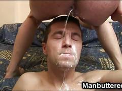 Luscious bareback loving twinks nasty cum shower